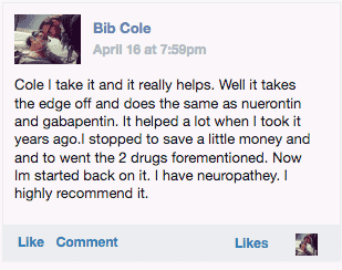 A customer named Bib Cole leaving a review of Nerve Renew