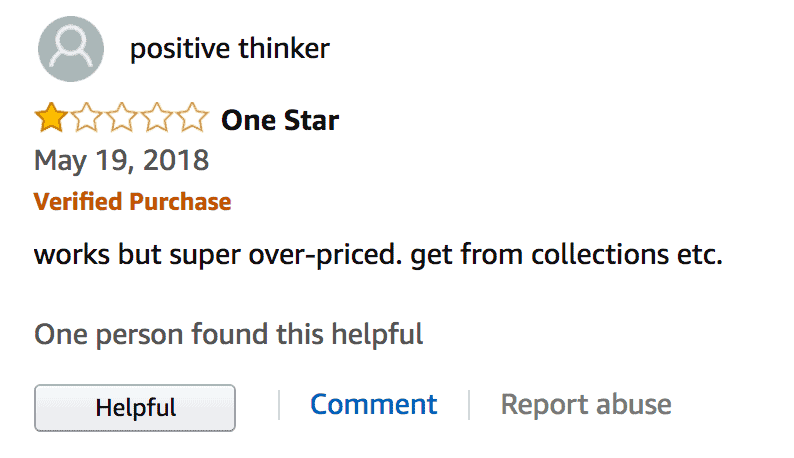 Review claiming the product is overpriced