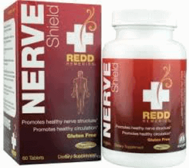 A box and bottle of Nerve Shield neuropathy supplement by Redd Remedies