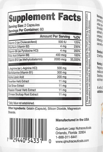 Supplement Facts label listing the ingredients in Neuropaquell
