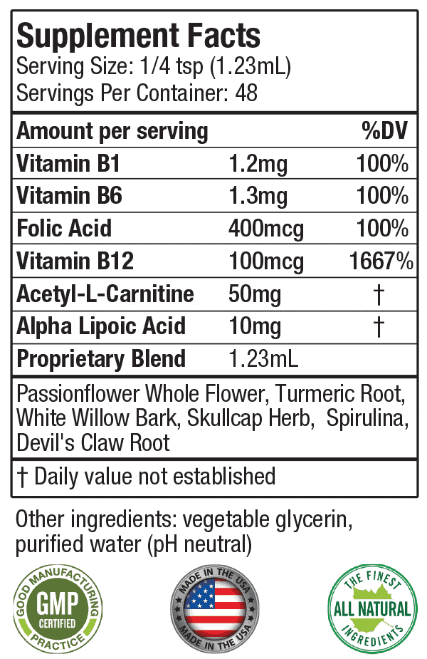 Supplement label of Nervestra containing a list and dosages of the ingredients