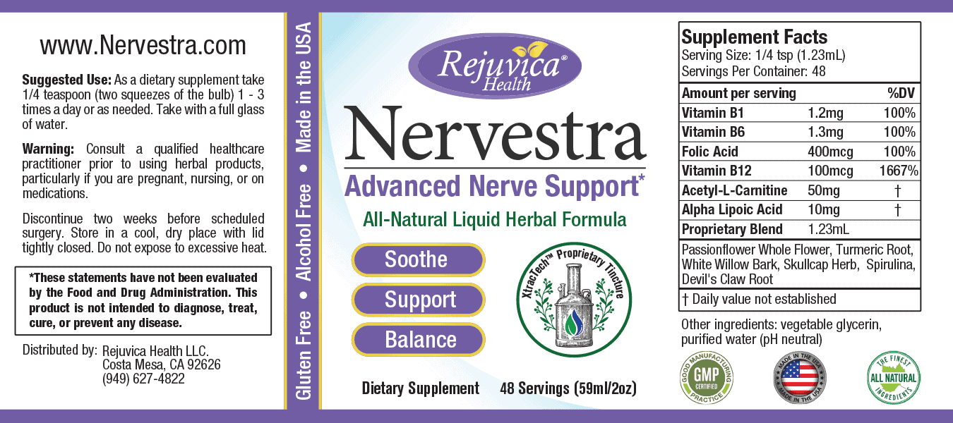 Label of the Advanced Nerve Support formula with Suggested Use and serving information