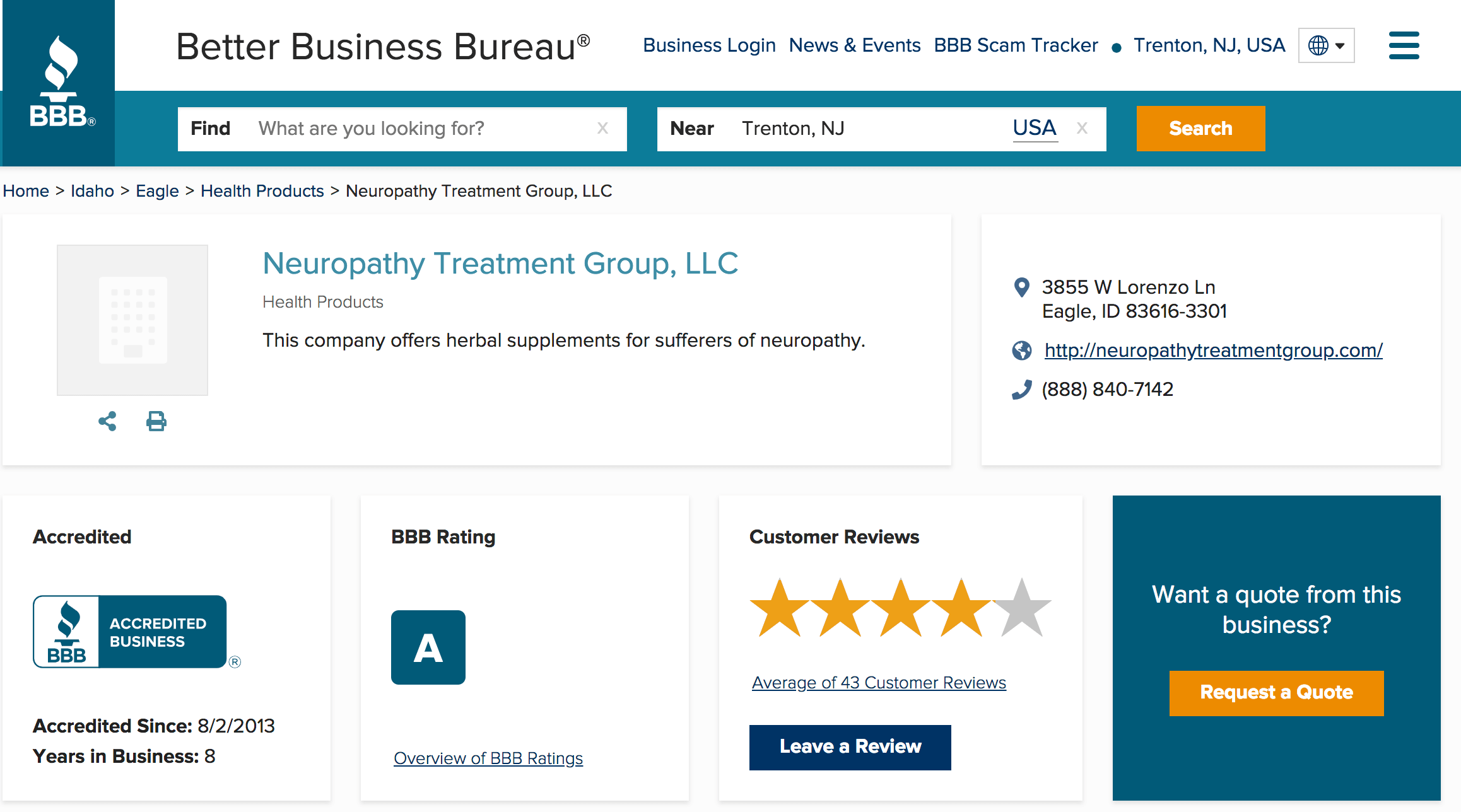 Neuropathy Treatment Group, LLC has an A rating with Better Business Bureau