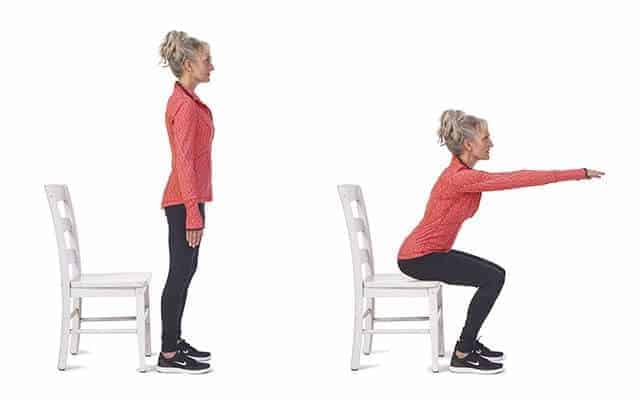 Chair squat exercise illustration